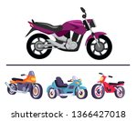 motorized bicycles collection...   Shutterstock . vector #1366427018