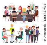 business meeting among young... | Shutterstock . vector #1366427438