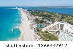 Cancun Beach Panorama Aerial...