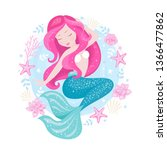 badges. beautiful mermaid for t ... | Shutterstock .eps vector #1366477862