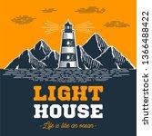 lighthouse emblem in vintage...   Shutterstock .eps vector #1366488422