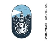 lighthouse emblem in vintage... | Shutterstock .eps vector #1366488428