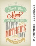 vintage happy mother's day... | Shutterstock .eps vector #136650236