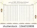 imsakia or amsakah ramadan 1440 ... | Shutterstock .eps vector #1366510808
