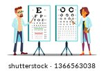 ophthalmologist examining... | Shutterstock .eps vector #1366563038