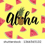 cute pineapple on textured... | Shutterstock .eps vector #1366565132