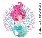 cute mermaid illustration  with ... | Shutterstock .eps vector #1366606625