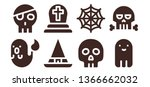 horror icon set. 8 filled... | Shutterstock .eps vector #1366662032