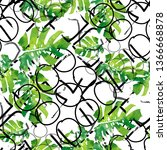 seamless pattern with monstera... | Shutterstock . vector #1366668878