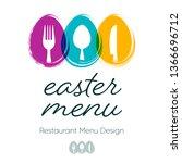 abstract restaurant easter menu ...   Shutterstock .eps vector #1366696712