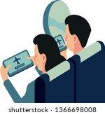 passengers turn flight mode on... | Shutterstock .eps vector #1366698008