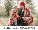 couple huggings travelers... | Shutterstock . vector #1366744298