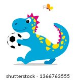 cute and cartoon dinosaur with... | Shutterstock .eps vector #1366763555