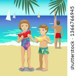 sea vector illustration. two... | Shutterstock .eps vector #1366766945