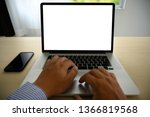 man working on his laptop with... | Shutterstock . vector #1366819568