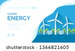 landscape with wind turbines ... | Shutterstock .eps vector #1366821605