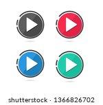 play button icon. vector... | Shutterstock .eps vector #1366826702