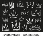 collection of crowns on black.... | Shutterstock .eps vector #1366833002