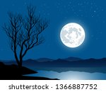 night landscape with lake and... | Shutterstock .eps vector #1366887752