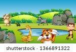 wild animal in nature... | Shutterstock .eps vector #1366891322