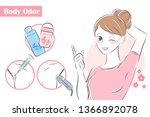 beauty cartoon woman with body... | Shutterstock . vector #1366892078
