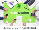 web design text on office desk. ...