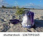 beach bag on a wild sandy beach   Shutterstock . vector #1367093165