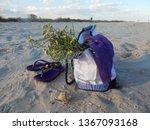 beach bag on a wild sandy beach   Shutterstock . vector #1367093168