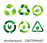 set of recycle  biodegradable ... | Shutterstock .eps vector #1367094665