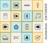 audio icons set with musical...