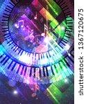 colorful retro style music...   Shutterstock . vector #1367120675