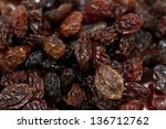 raisins isolated on white...   Shutterstock . vector #136712762