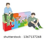 the word autism against the... | Shutterstock .eps vector #1367137268