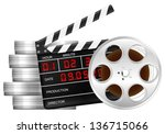 film reel  boxes and clapper... | Shutterstock .eps vector #136715066