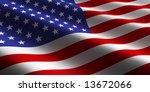 flying american flag | Shutterstock . vector #13672066