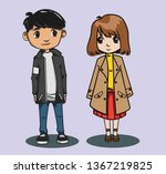 teen male short hair style in...   Shutterstock .eps vector #1367219825