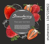 strawberry hand drawn healthy... | Shutterstock .eps vector #1367228822