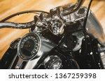 Close Up Of A Black Motorbike...