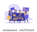 people  man and woman with bags ... | Shutterstock .eps vector #1367291615