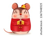 rat personality. red cheongsam...   Shutterstock .eps vector #1367348525