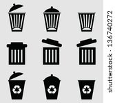 isolated dust bin icon on gray... | Shutterstock .eps vector #136740272