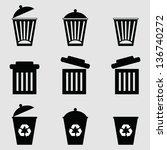 isolated dust bin icon on gray... | Shutterstock .eps vector #136740272
