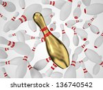 Bowling pin fallign in the air, Clipping path included. - stock photo