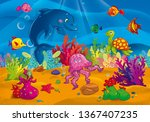 the inhabitants of the sea at... | Shutterstock . vector #1367407235