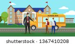 driver in uniform and boys with ... | Shutterstock .eps vector #1367410208
