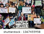 Small photo of STOCKHOLM, SWEDEN - APRIL 12, 2019: Greta Thunberg climate activist demonstrating every Friday.