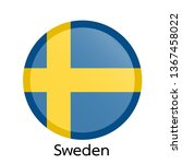 flags of sweden circle shaped... | Shutterstock .eps vector #1367458022