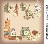 set of spices and herbs. vector ... | Shutterstock .eps vector #136747265