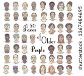 set of fifty hand drawn faces... | Shutterstock .eps vector #1367484695