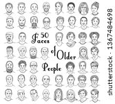 set of fifty hand drawn faces...   Shutterstock .eps vector #1367484698